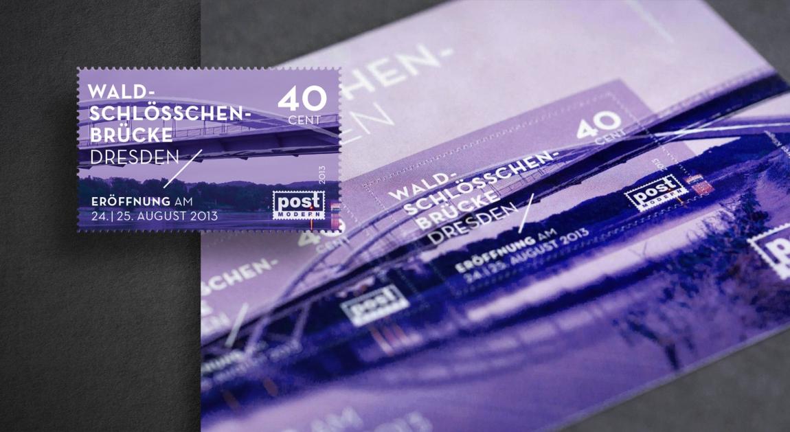 postmodern-briefmarken-philatelie-ersttagskarte-waldschlösschenbrücke-veredlung-prägung-stanzung-grafikdesign-berlin