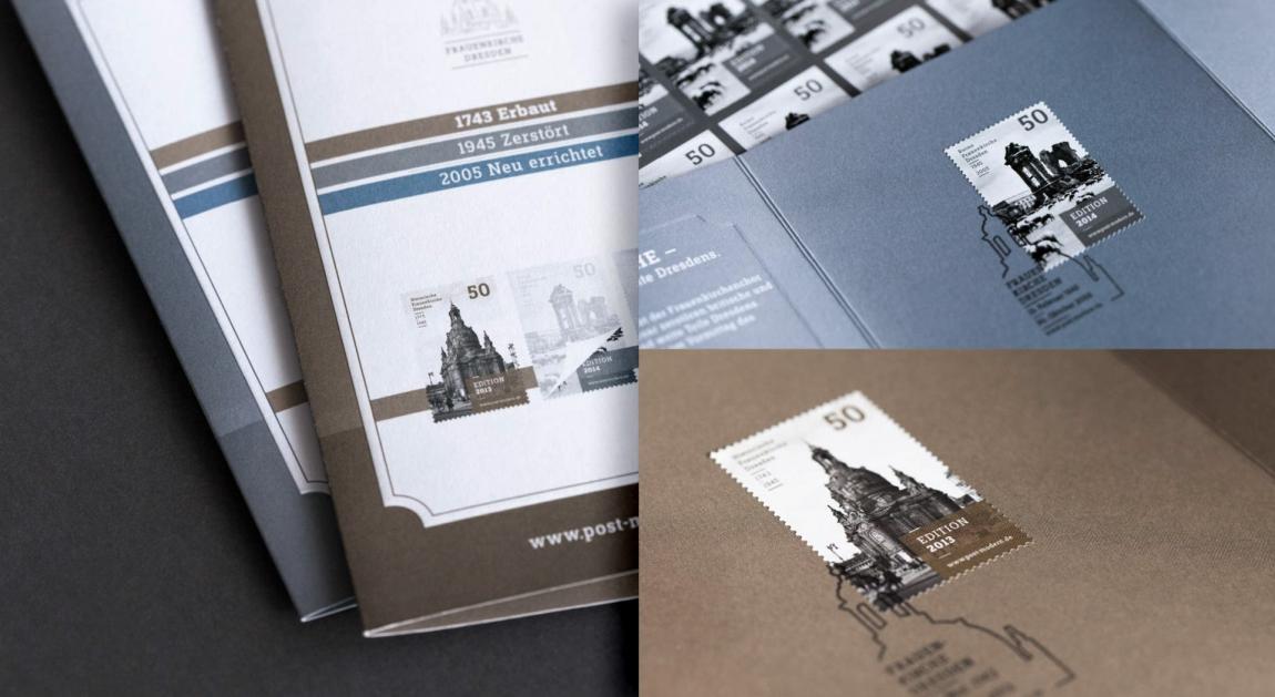 postmodern-briefmarken-sondermarke-philatelie-ersttagskarte-frauenkirche-veredlung-prägung-stanzung-grafikdesign-berlin